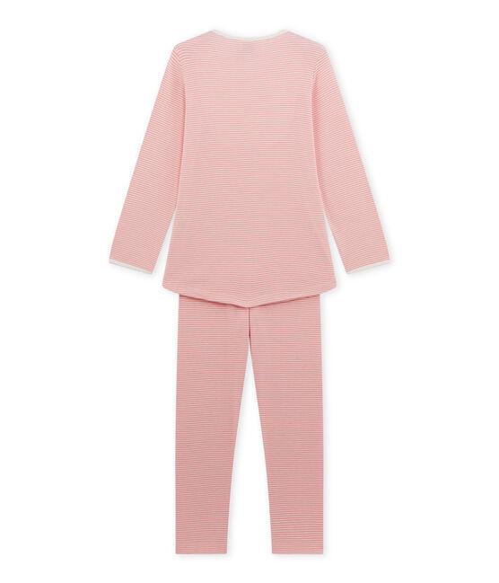 Girl's milleraies stripe pyjamas Gretel pink / Lait white