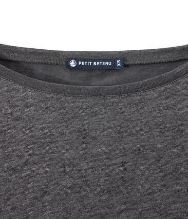 Women's iridescent linen long-sleeve tee Maki grey / Argent grey