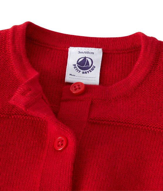 Baby girl's wool and cotton cardigan Froufrou red