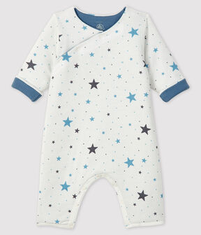 Baby's Long Ribbed Jumpsuit Marshmallow white / Tempete grey