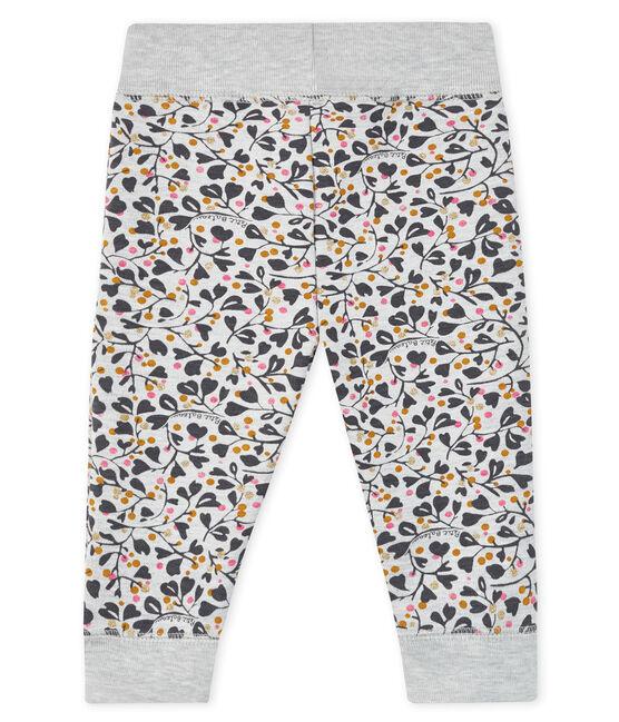 Baby girl's jogging trousers Beluga grey / Multico white