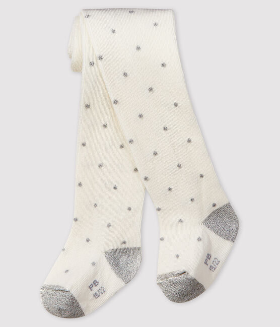 Baby girl's spotty tights Marshmallow white / Argent grey