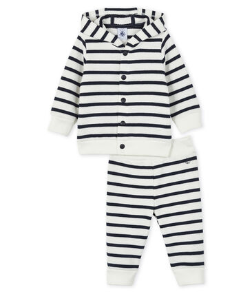 Baby sweat shirt and jogging set Marshmallow white / Smoking blue