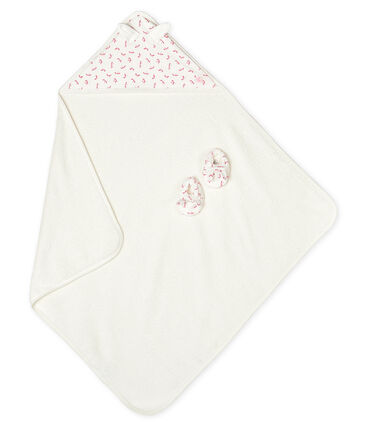 Babies' Square Bath Towel and Bootees Set in Terry and Rib Knit null