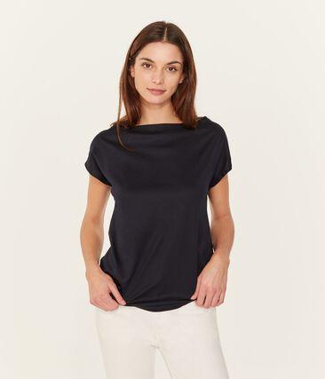 Women's Short-Sleeved Cotton Sea Island T-Shirt Marine blue