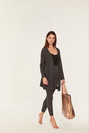 Women's extra fine tube-knit cardigan City Chine grey