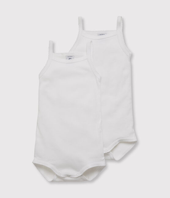 Set of 2 baby girls' bodysuits with white straps . set