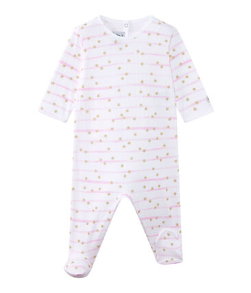 Baby girl's striped double knit sleepsuit