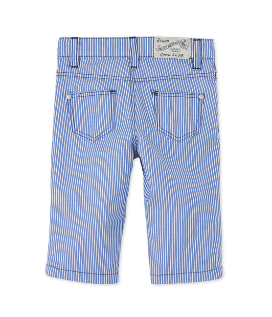 Baby boys' striped trousers Surf blue / Ecume white