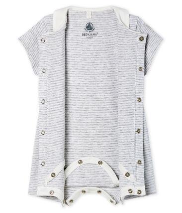 Babies Short Ribbed Bodyjama Poussiere grey / Marshmallow white