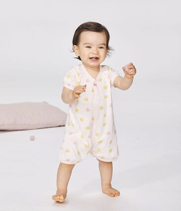 Baby Girls' Rib Knit Playsuit Fleur pink / Multico white