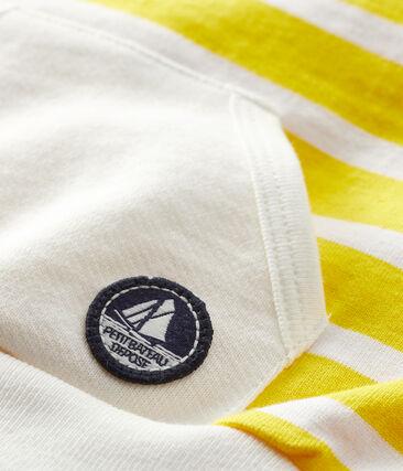 Baby boys' striped sweatshirt Marshmallow white / Shine yellow