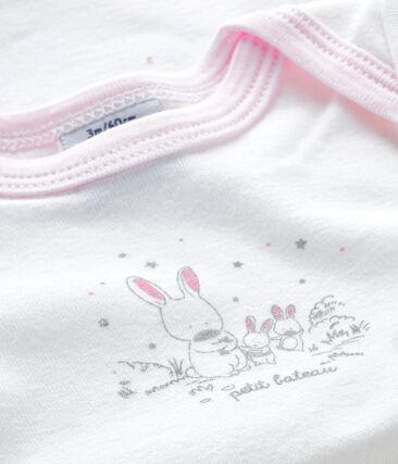 Baby girls' short-sleeved bodysuit Ecume white / Doll pink