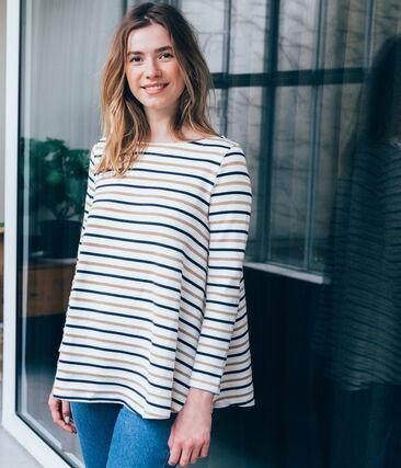 women's flared breton top in three colour stripes