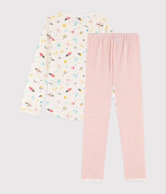 Girls' Ribbed Pyjamas with Fancy Print Marshmallow white / Multico white