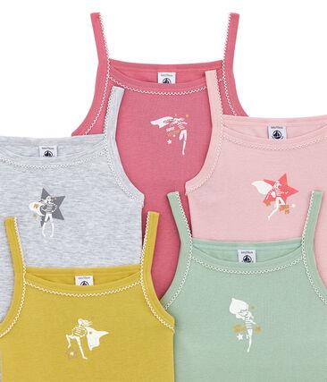 Set of 5 girls' strap vests
