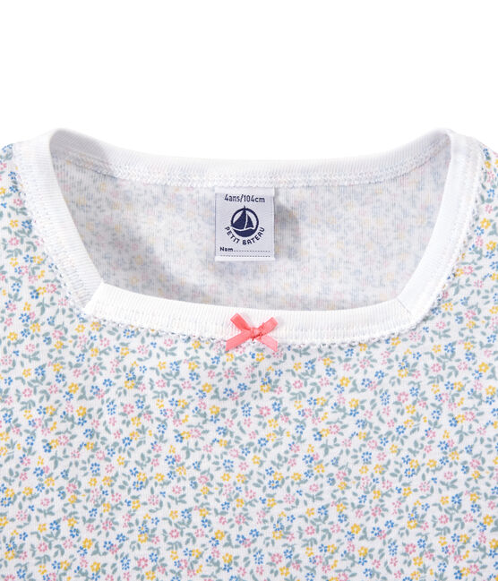 Girl's print shortie pyjamas Ecume white / Multico white
