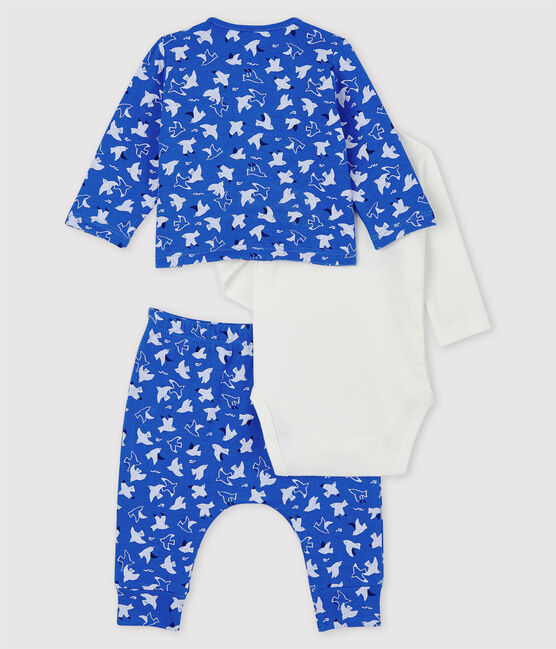 Babies' Blue Organic Cotton Clothing - 3-Pack Cool blue / Multico white