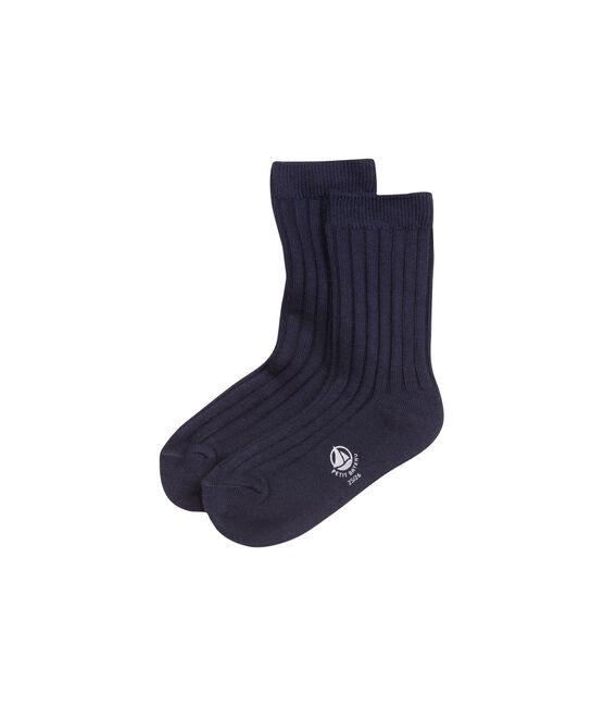 Boys' plain socks Abysse blue