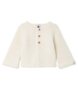 Baby Girl's Wool/Cotton Moss Stitch Cardigan Marshmallow white