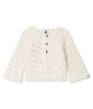Baby Girl's Wool/Cotton Moss Stitch Cardigan Marshmallow white