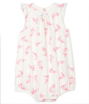 Baby Girls' Fine Jersey Playsuit Marshmallow white / Rose pink