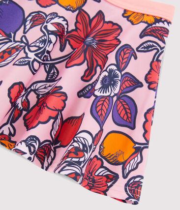 Girls' UPF 50+ Beach Skirt Patience pink / Multico white