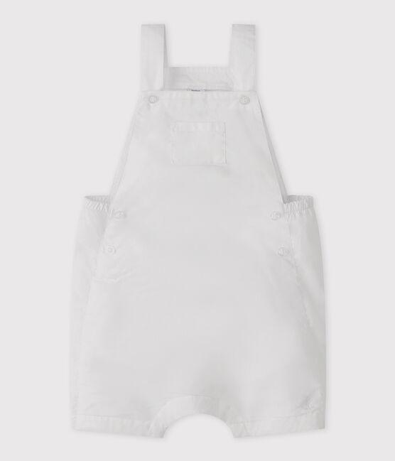 Baby boy's short linen dungarees Marshmallow white