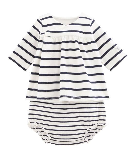 Baby girls' rib knit dress and bloomers Marshmallow white / Smoking blue