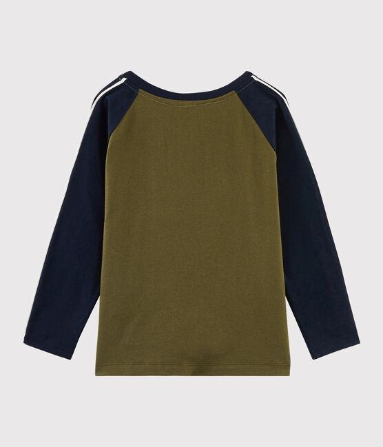 Boys' Silkscreen Print T-shirt MILITARY/SMOKING