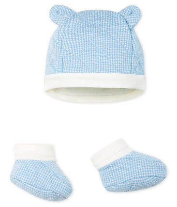 Baby Boys' Bonnet and Bootees Set in Quilted Tube Knit