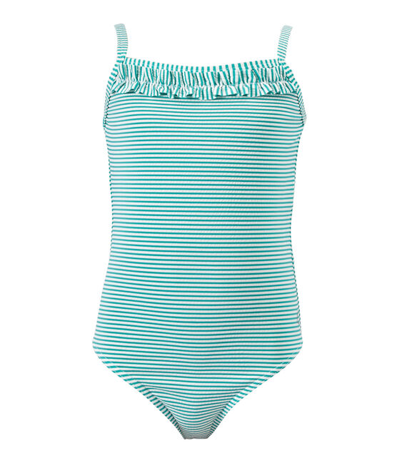 Girl's striped one-piece swimsuit Flag green / Lait white