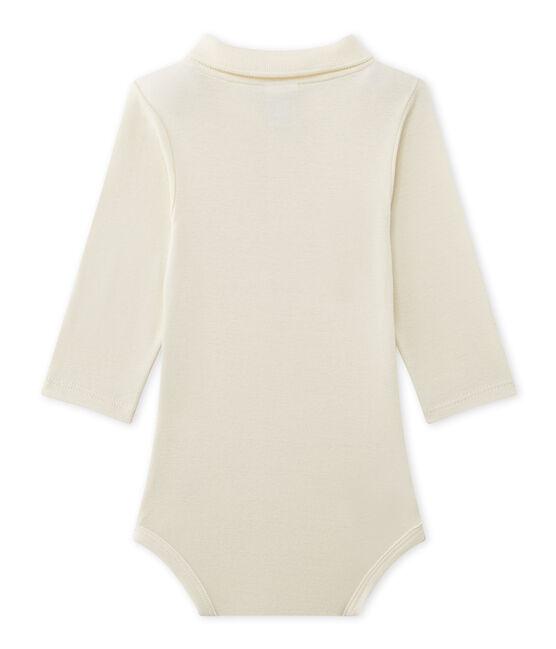Baby boy's bodysuit with collar Coquille beige