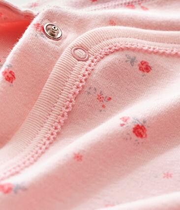 Newborn baby girl's long sleeved body Joli pink / Multico white