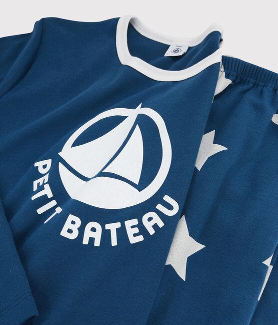 Boys' Starry Ribbed Pyjamas Major blue / Ecume white