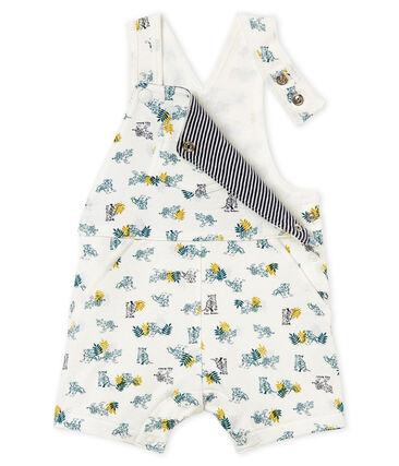 Baby boys' short dungarees in printed jersey