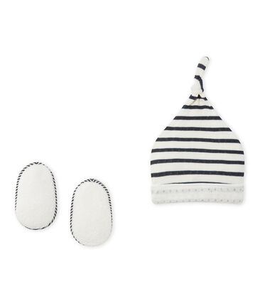 Newborn baby's beanie cap and booties set