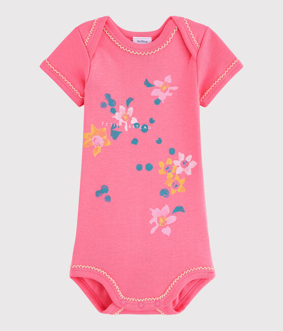 Baby Girls' Short-Sleeved Bodysuit Cupcake pink