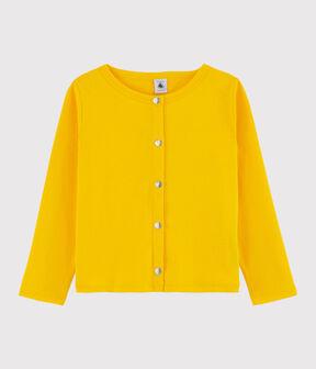 Girls' Cotton Cardigan Shine yellow