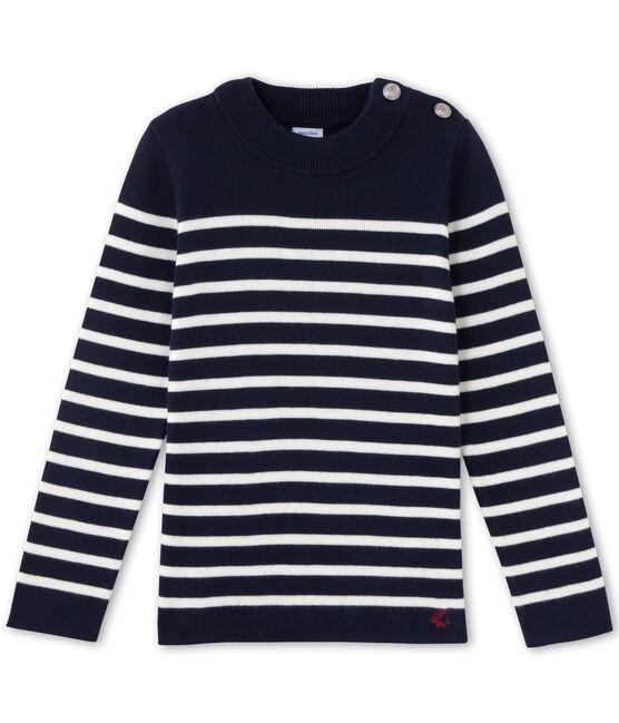 Boy's breton jumper Smoking blue / Lait white
