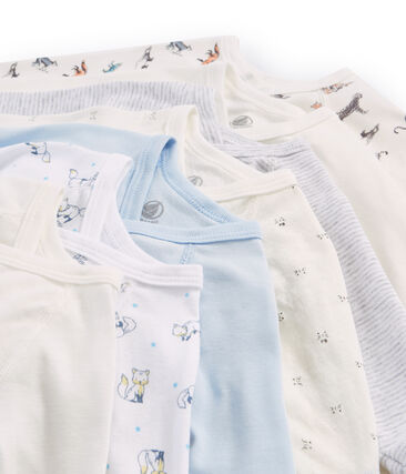 Surprise pack of 7 long-sleeved bodysuits for newborn baby boys