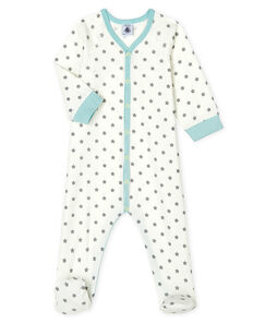 Baby Boys' Ribbed Sleepsuit Marshmallow white / Gris grey