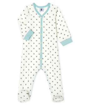 Baby Boys' Ribbed Sleepsuit Marshmallow white / Gris grey