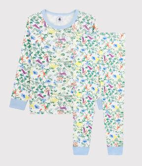 Boys' Jungle Print Cotton Pyjamas Marshmallow white / Multico white