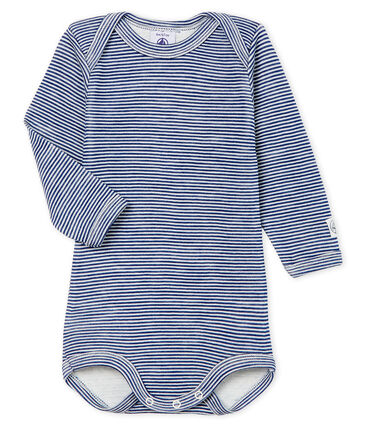 Baby Long-Sleeved Bodysuit in Cotton/Wool Medieval blue / Marshmallow white