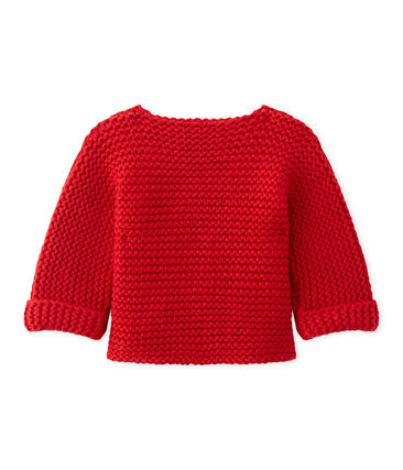 Baby's cardigan in wool and cotton mix Froufrou red