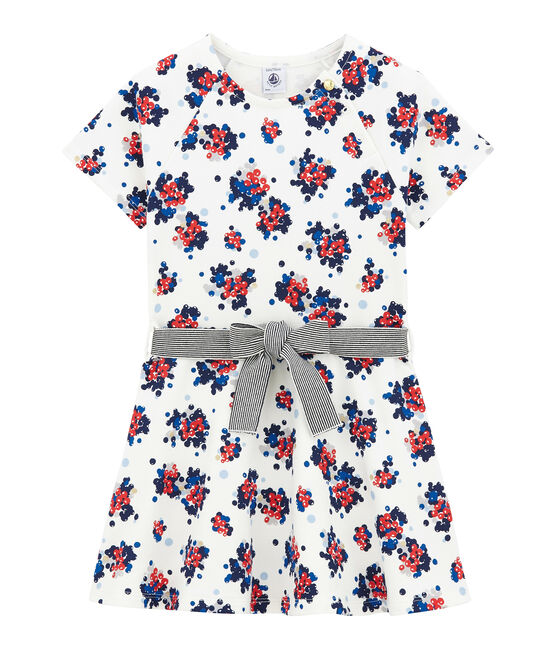 Flower print cotton sweatshirt dress Marshmallow white / Multico white