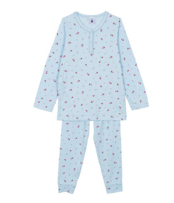 Girls' Pyjamas Fraicheur blue / Multico white