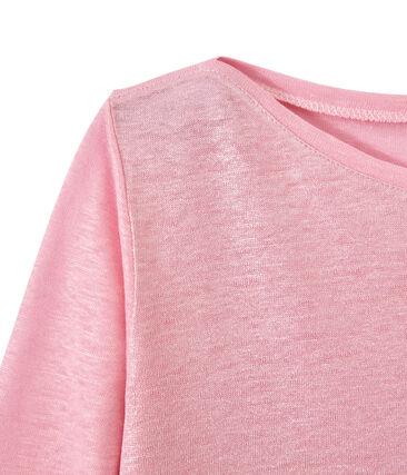 Women's iridescent linen long-sleeve tee Babylone pink / Argent grey