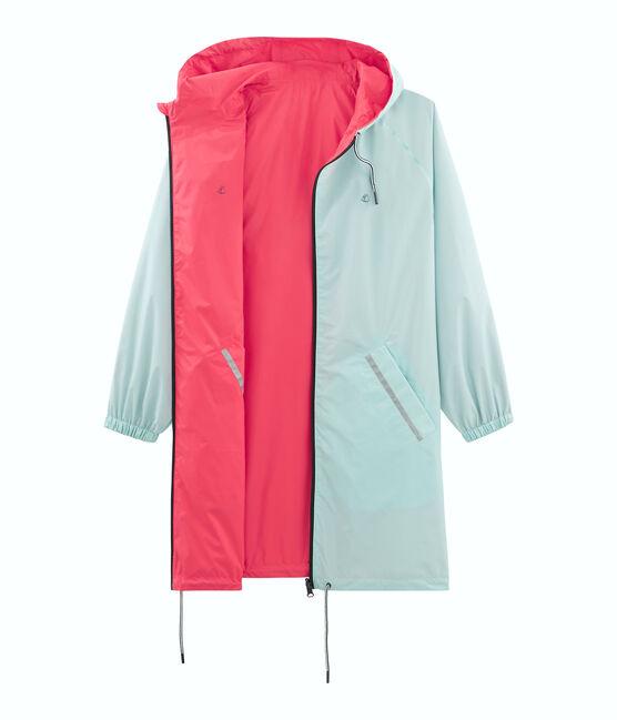 Women's reversible long windbreaker Groseiller pink / Crystal blue